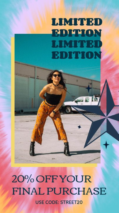 Tie Dye-Style Instagram Story Template with a Limited Edition Offer 2766a