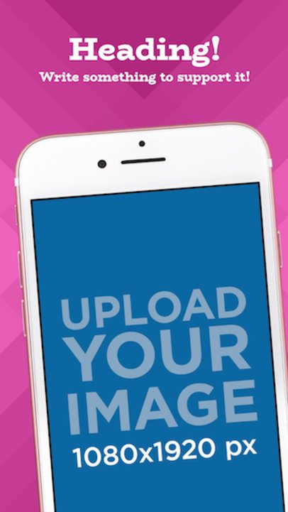 Diagonal Pink iPhone iOS Screenshot Maker 1346a