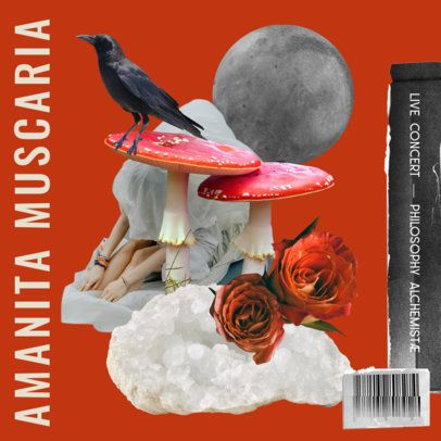 Album Cover Template Featuring a Fragmented Collage with Rose Graphics 2762f