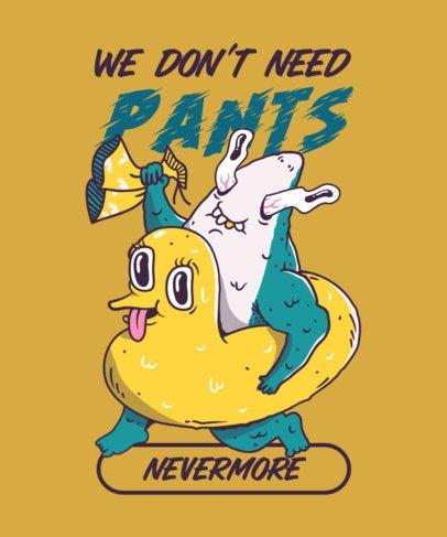 T-Shirt Design Template with a Gross Shark Illustration 2767a