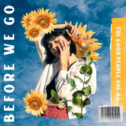 Album Cover Maker Featuring a Vintage Collage with Sunflower Graphics 2762g