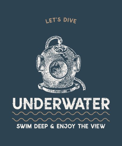 T-Shirt Design Template Featuring a Vintage Illustration of a Diver 2390a-el1