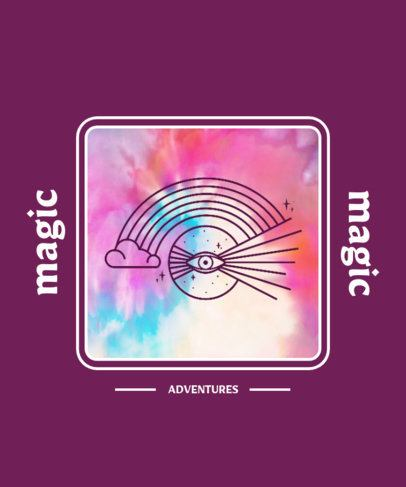 Magic-Themed T-Shirt Design Creator with a Tie Dye Color Effect 2764i