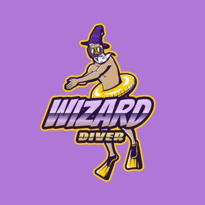 Logo Template for a Gaming Squad Featuring a Funny Wizard with a Floating Ring 3498e