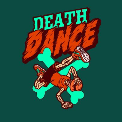 Logo Maker Featuring a Breakdancing Skeleton Cartoon 3492c