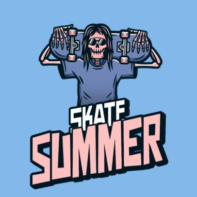 Skater-Themed Logo Maker with a Skeleton Graphic 3492q