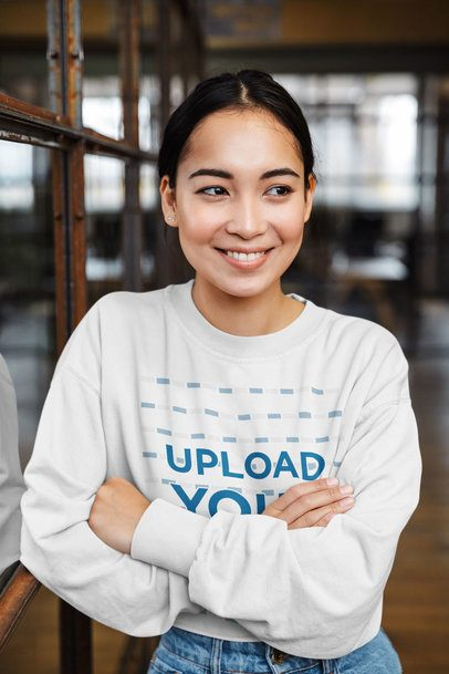 Sweatshirt Mockup of a Smiling Woman with Cross Arms 39560-r-el2