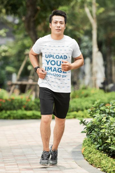 Activewear Heather T-Shirt Mockup Featuring a Man Running 36215-r-el2