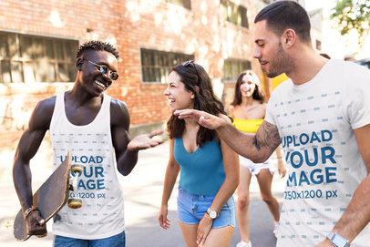 Tank Top and T-Shirt Mockup of a Group of Friends Hanging Out 34871-r-el2