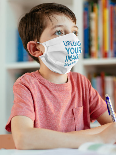 Face Mask Mockup Featuring a Boy Studying 39310-r-el2