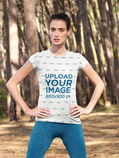 Sublimated T-Shirt Mockup Featuring a Woman With Her Hands on Her Hips 34808-r-el2