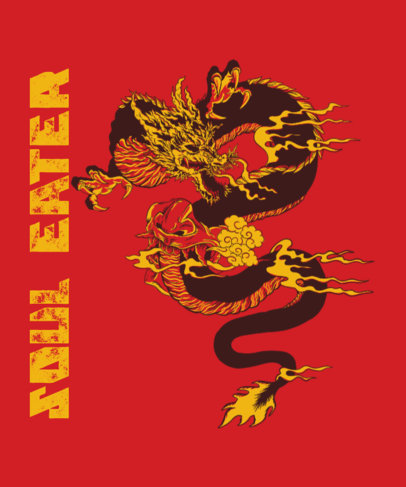 T-Shirt Design Template with Traditional Illustrations of Asian-Style Dragons 2780