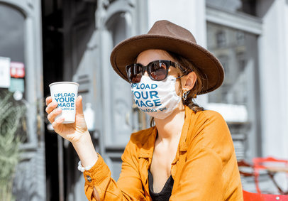 Face Mask Mockup of a Woman Holding a Coffee Cup 39801-r-el2