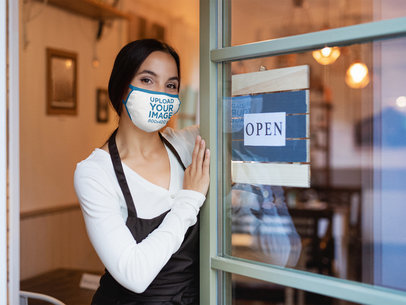 Face Mask Mockup of a Waitress Sanding by a Door With an Open Sign 39857-r-el2