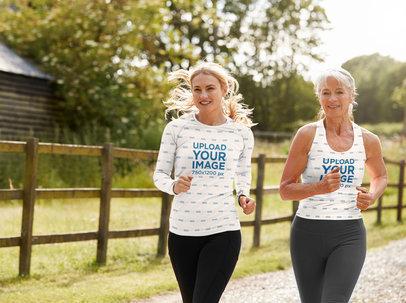 Longsleeve Tee and Tank Top Mockup of Two Women Running 39033-r-el2