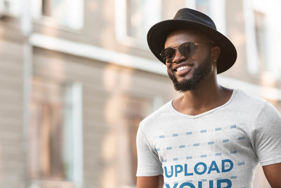 Heather T-Shirt Mockup of a Man Wearing a Fedora Hat 38908-r-el2
