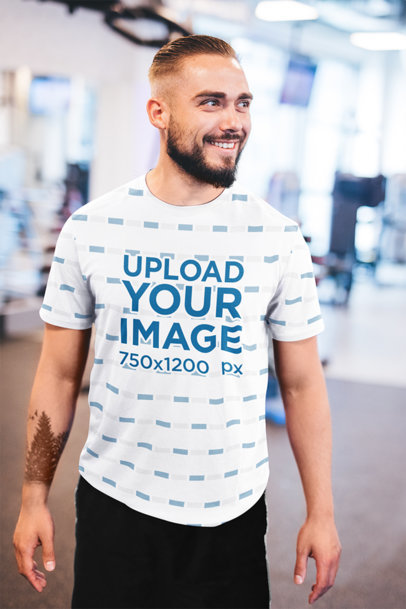 Sublimated T-Shirt Mockup of a Happy Bearded Man at the Gym 35125-r-el2