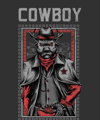 Illustrated T-Shirt Design Featuring an Obscure Cowboy 2415b-el1