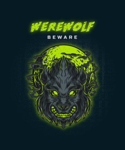 T-Shirt Design Creator Featuring a Scary Werewolf Illustration 2424a-el1
