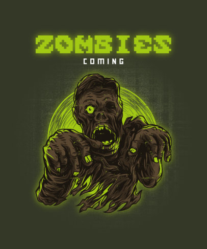 T-Shirt Design Template Featuring a Walking Zombie Illustration 2424e-el1