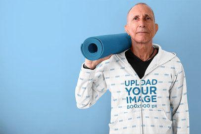 Mockup of a Senior Man Wearing a Sublimated Full-Zip Hoodie 40030-r-el2