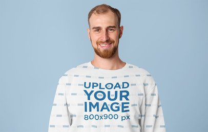 Sublimated Sweatshirt Mockup Featuring a Smiling Man in a Studio 40046-r-el2