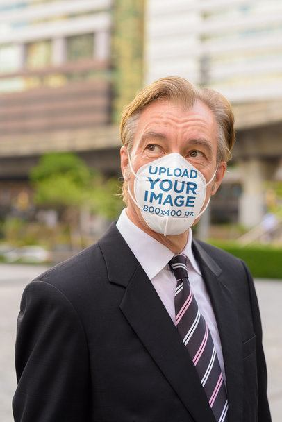 Face Mask Mockup Featuring a Middle-Aged Businessman 39970-r-el2