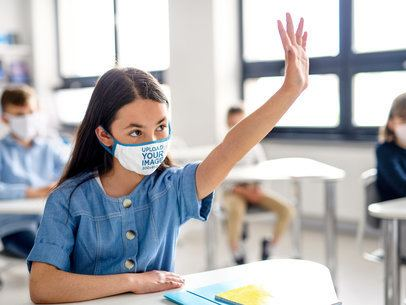 Face Mask Mockup Featuring a Girl Raising Her Hand During Class 39001-r-el2