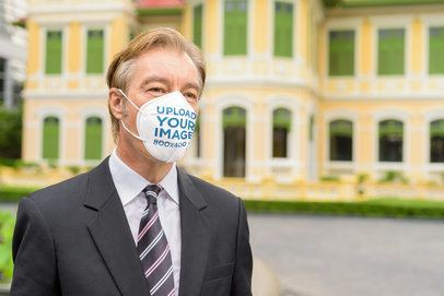 Mockup of a Businessman Wearing a Face Mask 39968-r-el2