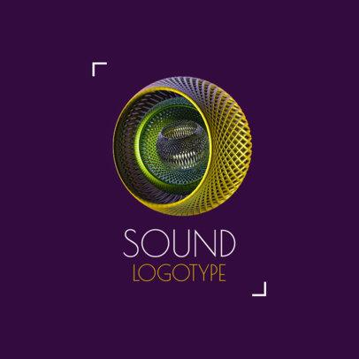 Music Logo Template Featuring an Abstract Futuristic Graphic 2441a-el1