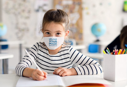 Mockup of a Little Girl Wearing a Sublimated Face Mask at School 39008-r-el2