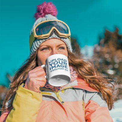 11 oz Coffee Mug Mockup of a Woman Getting Ready to Ski 38179-r-el2