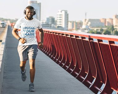 Activewear Tee Mockup of a Man Running on the Street 38827-r-el2
