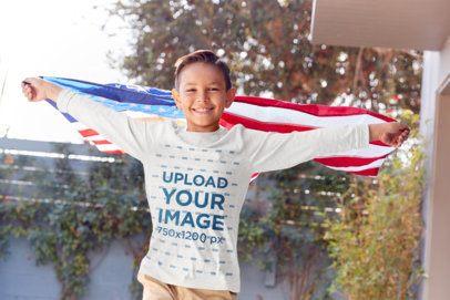 Long-Sleeve Tee Mockup of a Boy Waving an American Flag 39541-r-el2