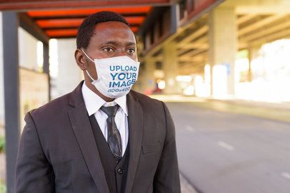 Face Mask Mockup Featuring a Man in a Suit 39973-r-el2