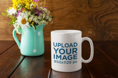 Mockup of an 11 oz Mug Placed Next to a Flower Vase 36507-r-el2