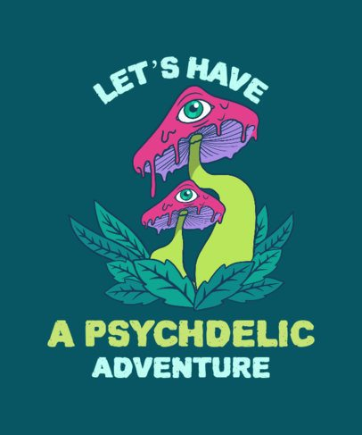 Illustrated T-Shirt Design Generator Featuring Psychedelic Mushrooms 2781f