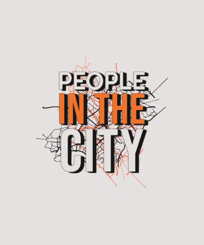 T-Shirt Design Template Featuring a Quote with a City Map Graphic 2320e-el1