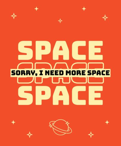 T-Shirt Design Template with a Clever Quote About Space 2769l