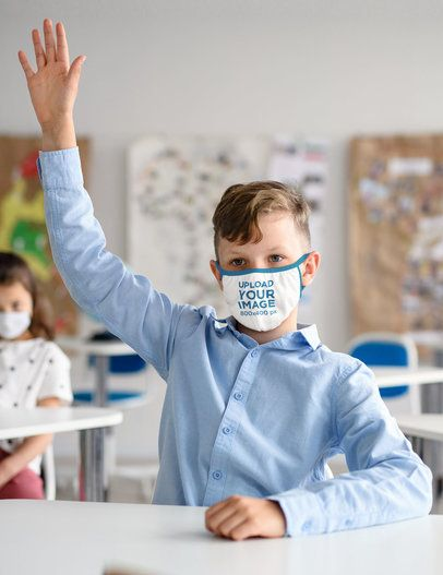 Mockup Featuring a Boy Wearing a Face Mask in a Classroom 39287-r-el2