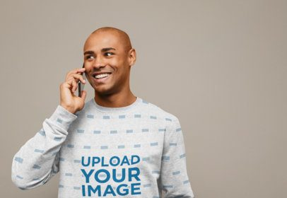 Sublimated Sweatshirt Mockup of a Joyful Man Talking on the Phone 37666-r-el2