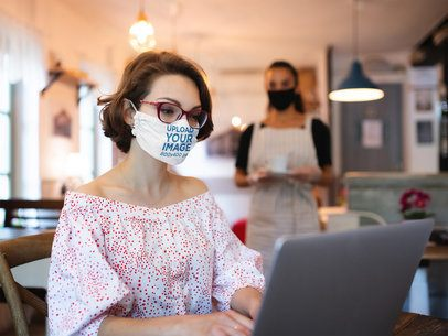 Face Mask Mockup of a Woman Working at a Coffee Shop 39925-r-el2