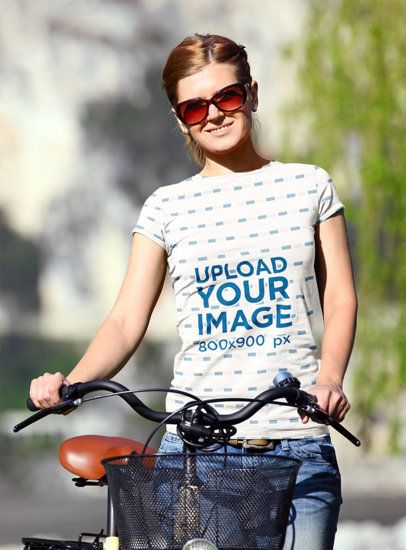 Sublimated Tee Mockup of Young Woman with a Bike 34925-r-el2