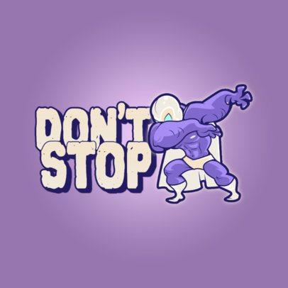 Clothing Brand Logo Maker Featuring a Dabbing Wrestler Cartoon 3529d