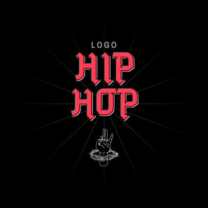 Music Logo Template Featuring a Classic Hip-Hop Style 3517a