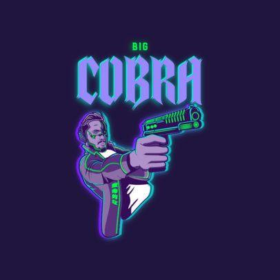 Logo Maker Featuring a Cyberpunk-Inspired Character Holding a Gun 3522c