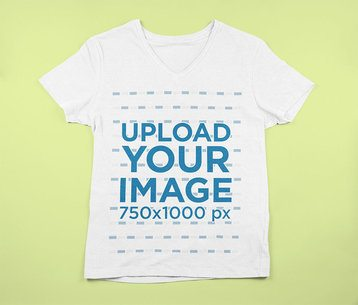 Mockup of a Flat Laide V-Neck Tee Featuring a Customizable Background 9025