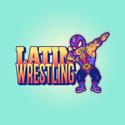 Logo Template Featuring a Masked Wrestler Cartoon 3529u