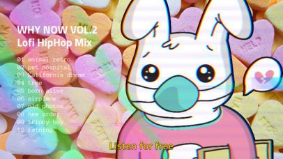 Music-Themed YouTube Thumbnail Creator Featuring a Heartbroken Bunny 2774b