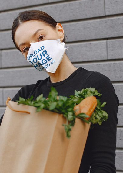 Face Mask Mockup of a Woman Carrying a Paper Grocery Bag 41028-r-el2